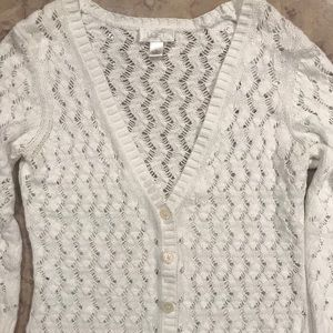 Ann Taylor Loft White Crocheted Cardigan Sweater